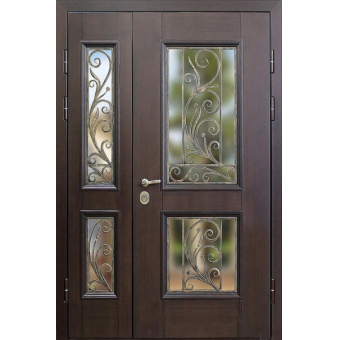 Металлическая дверь со стеклом С-2