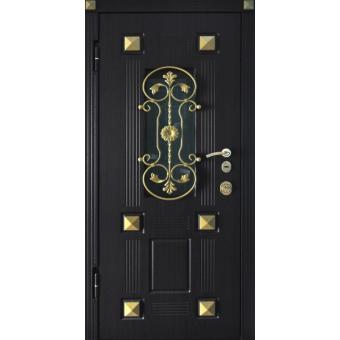 Металлическая входная дверь с ковкой и массивом дуба 43