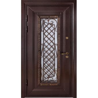 Металлическая входная дверь с ковкой и массивом дуба 44