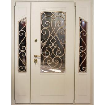 Металлическая входная дверь с ковкой и стеклом 33