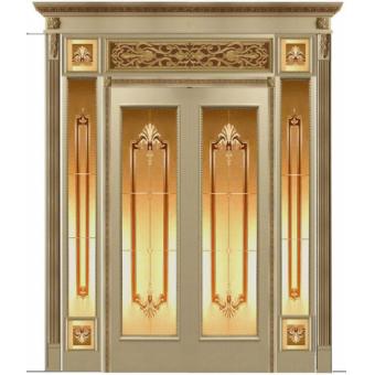Дверь металлическая с витражом В-2