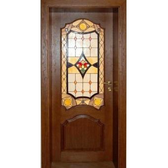 Дверь металлическая с витражом В-3