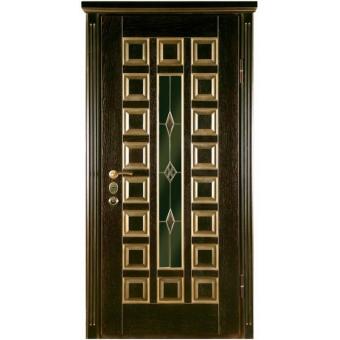 Дверь металлическая с витражом В-5
