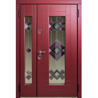 Дверь металлическая с витражом В-6
