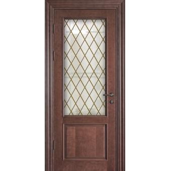 Дверь металлическая с витражом В-9