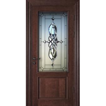 Дверь металлическая с витражом В-12