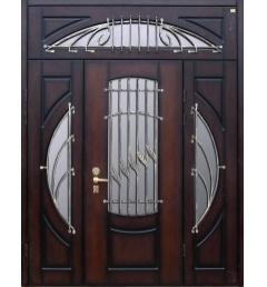 Металлическая входная дверь с ковкой и стеклом 35