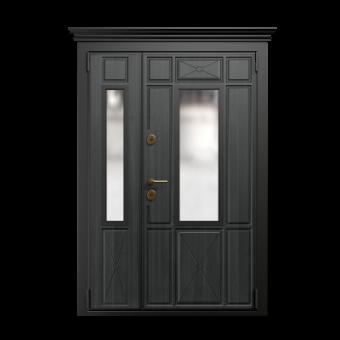 Металлическая дверь со стеклом С-12